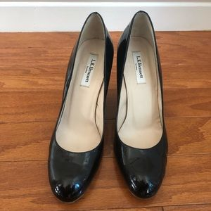 LK Bennett black patent leather wedge size 39